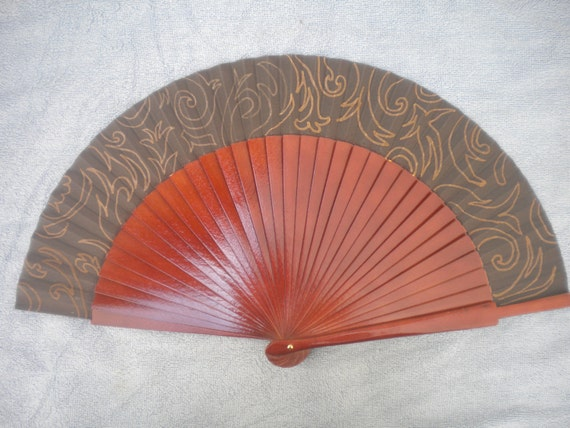 Brown Bronze Damask Hand Fan