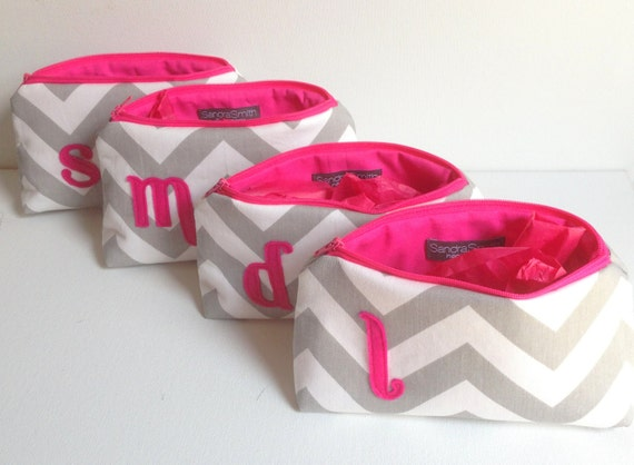 Bridesmaids Makeup Bag Gift Set: Four Hot Pink & Grey Monogram Cosmetic Bags, Bridal Wedding Party