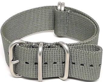 Ballistic Nylon NATO Watch Strap - Grey (Matte Buckle)