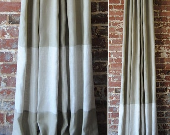 "96"" Banded Panel - custom curtains - 28 color options - high quality- linen fabrics"