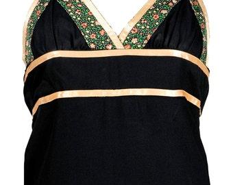 VINTAGE xxs/xs black gunne sax halter maxi dress