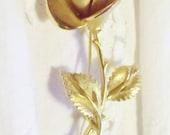 Vintage Pastelli Gold Tone Long Stem Rose Bud Brooch