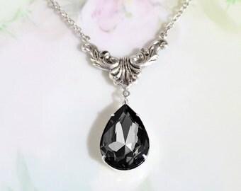 Black Diamond Necklace Black Diamond Crystal Rhinestone Teardrop Necklace April Birthstone Gift Idea Mother Gift Woman Necklace Bridal Gift
