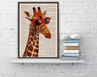 Summer Sale Cool Giraffe with sunglasses giclee print on Vintage Book sheet  vintage book print Nursery wall art ANI008