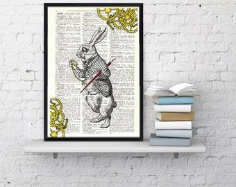 Summer Sale Alice in Wonderland White Rabbit clock issue collage- Nursery decor wall art Print on Vintage Dictionary Book ALW031
