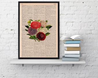Summer Sale Vintage Book Print Dictionary or Encyclopedia Page Print Book print Dalias Floral Bouquet Vintage Flower Print  BFL050