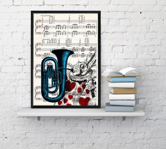 Summer Sale Alice in Wonderland White Rabbit Print on Vintage Music  Sheet ALW020