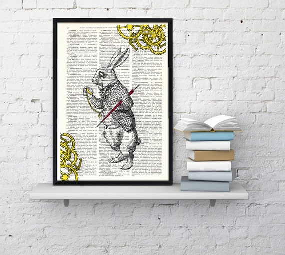 Alice in Wonderland White Rabbit clock issue collage- Nursery decor wall art Print on Vintage Dictionary Book ALW031