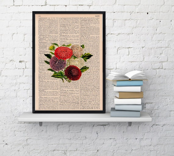Summer Sale Vintage Book Print Dictionary or Encyclopedia Page Print Book print Dalias Floral Bouquet Vintage Flower Print  BFL050