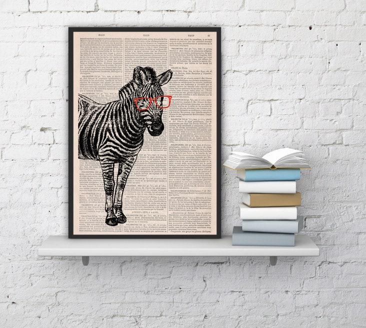 Geek Zebra With Glasses Print On Vintage Zebra Print Book