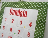 Personalized Christmas Advent Calendar in Green Polka Dot Fabric / Christmas Countdown Calendar with LARGE Pockets