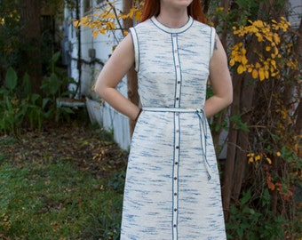 Blue and White vintage shift office dress