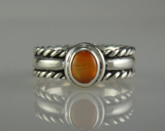 Sterling Silver Carnelian Ring- One of a Kind