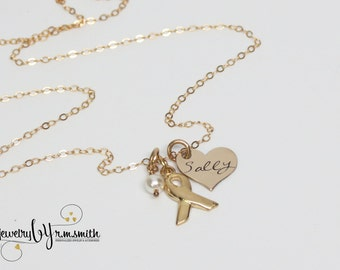 Personalized Cancer Necklace - Support Team Necklace - Gold Cancer Ribbon - Awareness Necklace - Mom - Grandma - Heart Necklace - Hope
