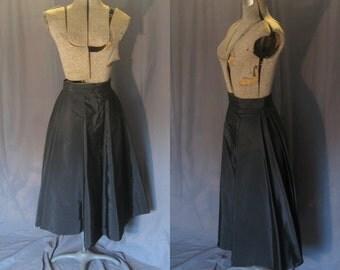 "Vintage 1950s Saks Fifth Avenue Black Circle Skirt  / 50s Full Circle Evening / Formal Skirt / Built in Crinoline / New Look X Small - 26"""