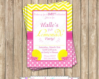 Pink Lemonade stand Invitation  Birthday Party  PRINTABLE summer  lemons pink yellow DIY lemonade personalized invitation invite