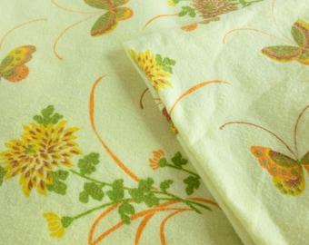 Twin Size Blanket Yellow Butterflies and Flowers Orange, Mustard, Green, Brown 1970s Boho Bedding Bedroom Decor