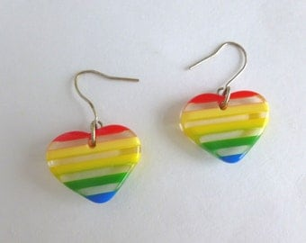 Rainbow Lucite Hearts Earrings Retro 1980s Jewelry Accessory Dangle Wire Hooks