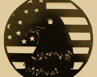 Bald Eagle,Armed Forces,USA,Patriotism,Metal Art,Flag