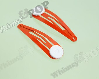 Orange Snap Clip Hair Clips, Snap Clips, Metal Hair Clips, Hair Accessory Blanks, 47mm x 13.5mm (C2-13)