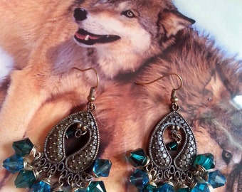 Lovely Antique Bronze Chandelier Crystal Earrings/Green Swarovski Crystals/Gypsy/Boho