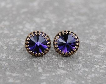 Purple Velvet Crown Earrings Swarovski Crystal Earrings Petite Earrings Crown Victorian Purple Earrings