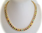 Vintage Multi Gemstone  Estate Jewelry Collar Necklace