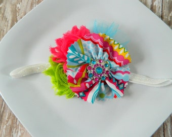 Bright Rainbow Headband- new, babies, girls, photo prop, summer