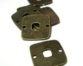 Square LInks with Center Hole Simple COnnector 15mm Antique Bronze 15 pieces