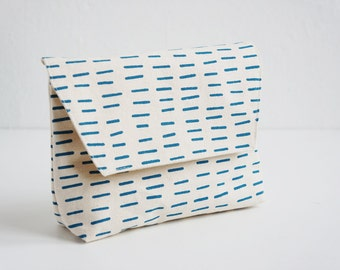 Hand-Printed Pouch, Organic Cotton, Gift, Blue Pouch, Cosmetic Pouch, Little Lines,