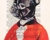 Acrylic paintings Illustration Original Prints Drawing Giclee Posters Mixed Media Art Holiday Decor Gifts:  Gentleman Frenchie