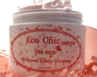 Pink Sugar Whipped Body Frosting - Paraben Free with Cocoa Butter & Shea Butter - Vitamins A, B, C, E - Moisturizer