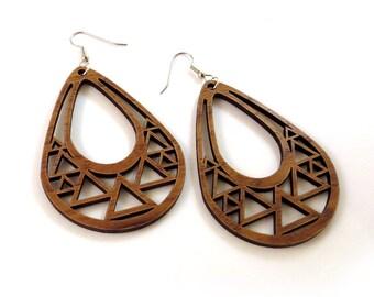 Triangle Teardrop Wooden Hook Earrings in Walnut - Large - Sustainably Harvested Wood Dangle Earrings