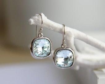 Light Aquamarine Earrings with Light Blue Swarovski Crystals - Gift for her