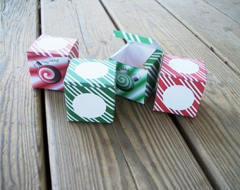 DIY Gift Boxes Christmas Advent Calendar Red Green Peppermint Spearmint Printable Cube Favor Boxes