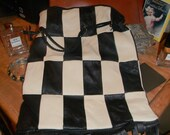 Black & Cream Checkered leather . Beautiful Baroque Bag.Artisian Lamb leather.soft and easy to pack too