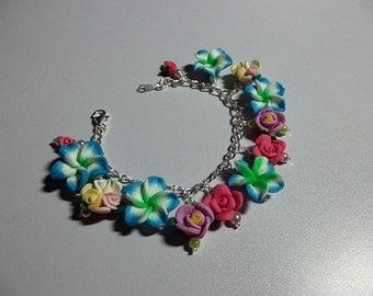 Rose Charm Flower Bracelet, Valentines Mothers Day Christmas Gift,  Mom Sister Bridesmaid Girlfriend Birthday Wedding Jewelry Gift