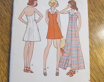 """1970s Collared Halter Mini Fit and Flare Dress - BOHO Maxi Dress - Size 12 (Bust 34"""") - VINTAGE Sewing Pattern Butterick 6670"""