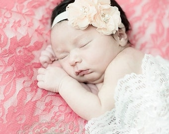 Blossom Baby Headband  Flower Girl, Wedding Baby Blush, Ivory other colors
