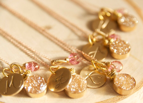 Love these druzy initial necklaces