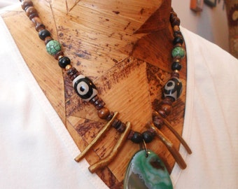 Beaded Tribal Agate Focal Necklace