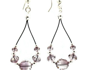 Crystal Dangle Earrings - Beaded Jewelry - Teardrop Hoop Earrings - Sterling Silver Earrings - Lightweight Antique Pink Earrings