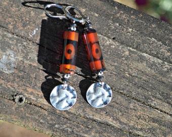 orange and black earrings tribal style jewelry gift