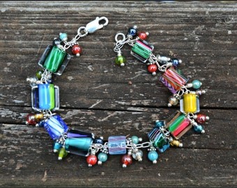 Glass Rainbow Bracelet colorful handmade Italian glass bracelet