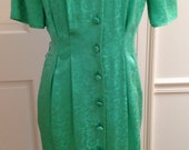 SALE 100% Silk, Emerald Embroidered Green 80's Dress