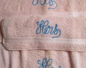His and Hers Bath towel Set.  Vintage 1960.  3 Piece, His, Hers terry cloth. Unused. Pink with Blue embroidery, Mid Century Kitsch.