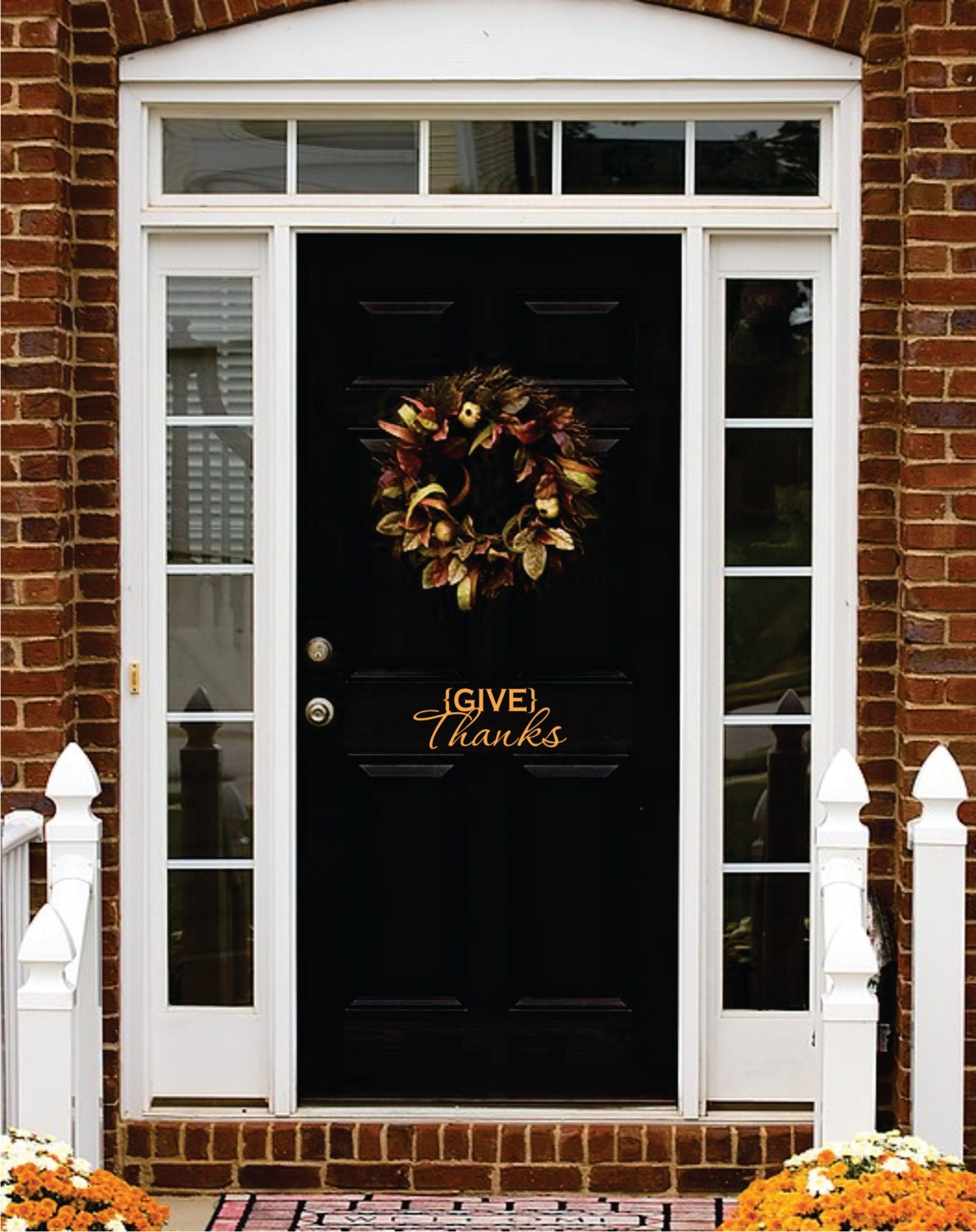 Thanksgiving Vinyl Give Thanks Decal Front Door Thanksgiving