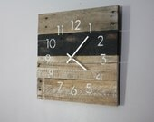 Reclaimed wood wall clock. Black & White. Rustic meets Industrial.  Recycled, Reclaimed, Repurposed Pallet Wood Wall Clock. Great gift idea.