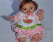 Dollhouse Miniature Baby Doll - One Inch Scale Girl - OOAK - Polymer Clay - Eleanore Grace