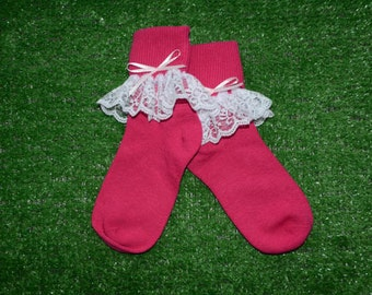 Hot Pink -  Lace Socks with Bow for Little Girls - Size 6-7 1/2 (XS) - US Shoe Size 6-11